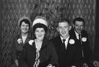 1953; A Studio Photo Of A Wedding Group Posing For The Camera.