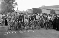 3rd October 1954; The start of the 50 mile cycle race for the BSA Caball Cup in Tralee. The race was won by Gene Mangan.