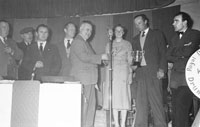 3rd February 1956; Tim Kirby Of The Kerry Ploughing Association Presents A Prize To Annie Mai Donegan, The Queen Of The Plough At The Abbeydorney Plough Prize Dance.