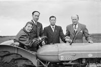 4th February 1956; Annie Mai Donegan, The Queen Of Plough With Con Slattery, Mr. Donegan And Billy Benner The Fordson Major Diesel Tractors Agent In Causeway.