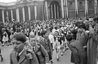 17th March 1956; The Crowd At The St. Patrick's Day Parade In Dublin.