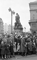 17th March 1956; A Photo Of O'Connell's Statue Taken During The St. Patrick's Day Parade In Dublin.