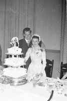 1956; A photo taken at the wedding reception of a wedding which took place at St Catherine's Church in Tralee.