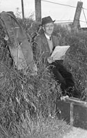 10th August 1956; A photo taken of a man at the site that was once the Dingle Railway Line.