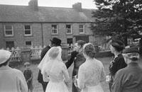 August 1957; A photo taken at a wedding in Castleisland Church.