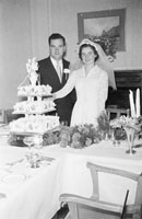 August 1957; A photo taken at a wedding reception.