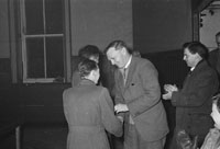 February 1957; A photo of the prize presentation after a table tennis tournament.