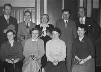 February 1957; A photo of the prize winners after a table tennis tournament.