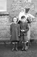 December 1957; A photo of Santa with students in a convent school in Castleisland.