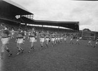 14th May 1961; A photo of the Kerry Team coming onto the pitch for the National Football League Final in Croke Park when Kerry defeated Derry 4-16 to 1-5.