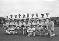 14th May 1961; A photo of the Derry Senior Football Team in Croke Park on the day of the National Senior Football League Final when they were defeated by Kerry 4-16 to 1-5.
