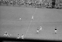 14th May 1961; A photo of the action during the National Football League Final in Croke Park when Kerry defeated Derry 4-16 to 1-5.
