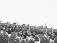 11th November 1962; An action photo taken at the Senior County Championship Final Replay between Feale Rangers and John Mitchels. The final score in the match was John Mitchels 1-9 to Feale Rangers 0-5.