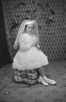 June 1962; A Communion photo of a girl taken at the studio in Tralee.