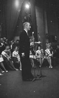 3rd September 1962; Kevin Hilton who is the Rose of Tralee Master of Ceremonies on stage at the Ashe Memorial Hall in Tralee. The Dublin Rose was crowned the winner.