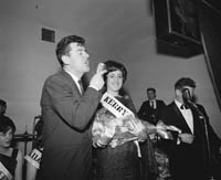 5th May 1964; Brendan Boyer along with Breda Gaine From Kenmare who won the Kerry Rose Title at The Kerry Rose Of Tralee Contest at Ballybunion's Central Ballroom.