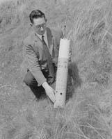 Sean Wynne with a Radio Beacon at Barrow