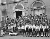 26th May 1964; An Irish Dancing School at the Kingdom County Fair Opening Parade in Day Place, Tralee.