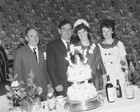 June 1964; A photo taken of a Wedding Party at the reception held in the Hotel Manhattan.