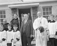 2nd June 1964; Photographed at the opening of the new school at Bouleenshere, Ballyheigue are Mr Padraig O'hEidhin (Divisional Inspector, Department of Education) and Very Rev. James Enright PP.