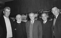9th January 1964; A group of men pose for the camera at the Tarbert Milk Suppliers Dance in the Hotel Manhattan, Tralee.