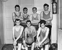 22nd November 1964; The Tralee FCA Basketball Team, winners of the Brass Rail Tournament. Front row (L-R): Tom O'Shea, Francis Fitzgibbon (Captain), Edmund Stack. Back row (L to R): Con Spring, Derry O'Shea, Sean Burrows, Roddy O'Donnell.