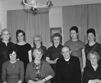 26th November 1964; A photo of the organising committee of the Irish Countrywomen's Association Caherciveen Guild Annual Dinner. Front row from left: Joan Donogue, Mrs. A. Dowling (President), Fr. D. McSweeney, Eileen Curran. Back row: B. Clifford, B. McCrohan (Secretary), H. Mullins (Vice-President), B. Brecken (Treasurer), Christine Moriarty, N. Keane.