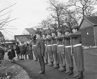 Raising the Tri-Colour at Ballymullen Barracks