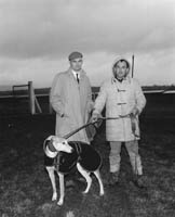 29th December 1964; Jerry Price, Tralee, (right) with his dog at the Kingdom Cup Coursing Meet in Ballybeggan Park, Tralee.