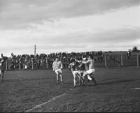 November 1973; An action photo taken during the National Football League final replay between Kerry and Roscommon at Austin Stacks in Tralee. Kerry won 0-14 to 0-8.