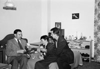 1953; Joan And Padraig Kennelly with Norman Ross in the Royal Hotel, Valentia.