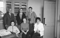 1953; Television Star Eamonn Andrews (right) with a Group Of People At The Cable Station On Valentia Island.