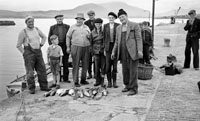 1953; A Photo Of Fishermen Posing For The Camera With Their Catches At Valentia Pier.