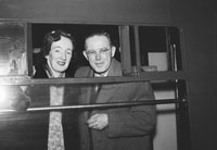 10th February 1954; On The Train At The Train Station For The Wedding Of Michael Fleming And Mary Mulvey, Both Chemists From Killarney. The Event Took Place In Cork. Well-Wishers Came To See The Happy Couple Off.