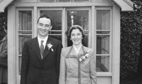 January 1954; The newlyweds posing at the Carroll wedding reception outside the Meadowlands Hotel in Tralee.