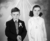 May 1957; A Communion photo of the Dillon children, taken in the studio.