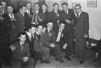 February 1954; A Group Of Men Posing At The Kerins O'Rahillys Social At The Meadowlands Hotel, Tralee. The social was held to celebrate the clubs 1953 Senior County Championship win against Shannon Rangers. The final was held on the 20th September 1953 in Austin Stacks, where the Strand Road team defeated Shannon Rangers 1-4 to 0-5.