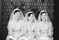 1953; A Studio Photo Of Three Confirmation Girls.