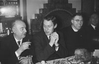 18th February 1956; Fr. P. O'Doherty And Two Other Men At Their Table At St. Mary's Social Celebrating The South Kerry County GAA Championship Team In Caherciveen.