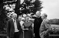 September 1964; His Excellency Most Reverend Archbishop McGuckan of San Francisco at the home of his cousin, James Tagney, Leebrook, Tralee. The Archbishop was on his way to Rome. He celebrated Holy Mass in the Presentation Convent in Castleisland, where his mother was from. L to R: James Tagney, Mrs Tagney, Mrs Hayes, Most Reverend Joseph T. McGuckan, and Commandant Sean Hayes.