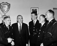 11th November 1964; Mr Plunkett Walsh, Assistant General Secretary of the Irish Red Cross showed a film and gave a lecture on First Aid and Road Safety and The Freedom From Hunger Campaign at Tralee Vocational School. In the photo L-R: Pat McAuliffe, Unit Officer Listowel; Tim Leahy, Chairman, Kerry Red Cross; J. Lovett, Central Council Representative and Kerry Area Director; J. McMahon, Treasurer Kerry Red Cross and Chairman Tralee UDC; Mr J. Howlett, Town Clerk; C. Foley, Unit Officer; Mr. Plunkett Walsh.