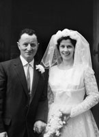 April 1964; A photo of a wedding couple in St. John's Church, Tralee.