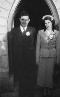 1955; A Photo Of Newlyweds Posing For The Camera At Their Wedding At St. Catherine's Church In Tralee.