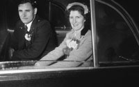 1955; A Photo Of Newlyweds Posing For The Camera In Their Wedding Car At Their Wedding At St. Catherine's Church In Tralee.
