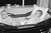 10th December 1955; A Photo Of The O'Hare Twins In Their Pram.