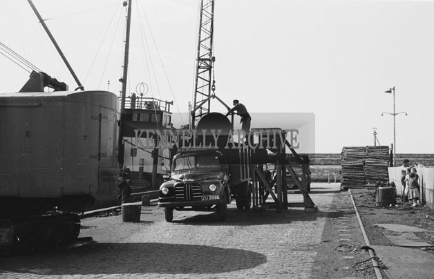1953; A Photo Of Loading/Unloading At Valentia Pier.