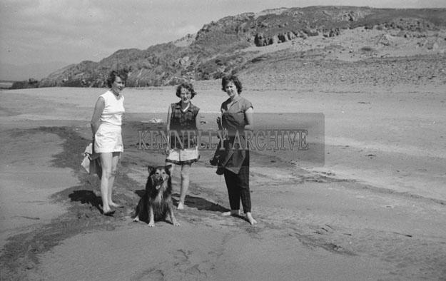 1953; Three Ladies Enjoying Themselves On The Beach With Their Dog On Valentia Island.