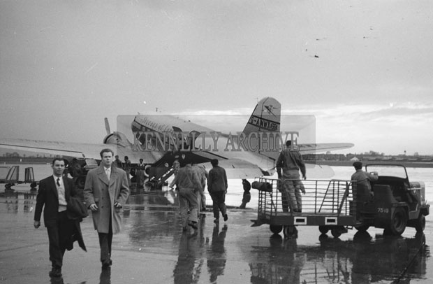 1953; A Group Of People Boarding 'The Skyways Of London' Plane To Paris, France.