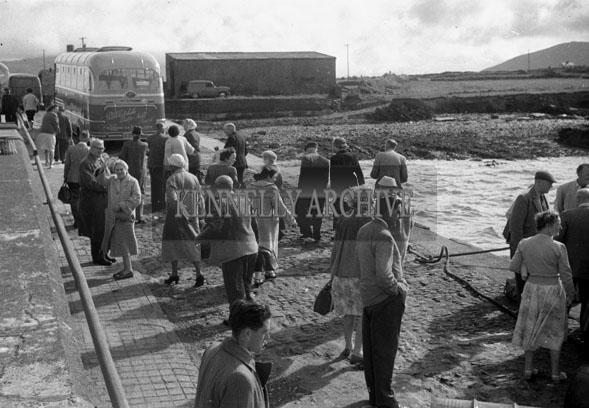 1953; A Photo Of A Bus Tour At Valentia Island Pier.