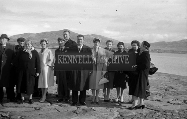 1953; A Wedding Party Pose For The Camera At Valentia Island Pier Before Heading Off To The Reception At The Royal Hotel